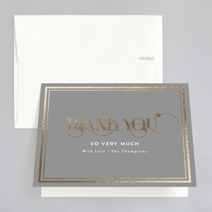 """Our Gilded Love"" - Foil-pressed Thank You Cards in Dove by AK Graphics."