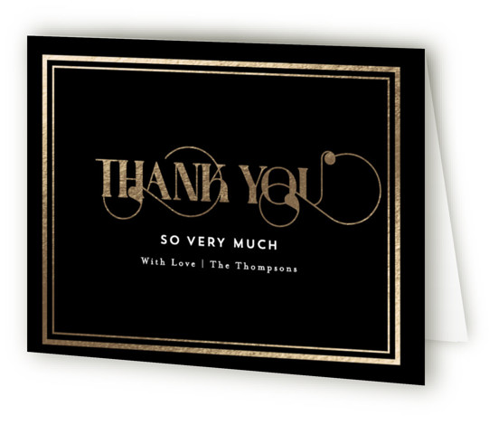 This is a black, gold Wedding Thank You Cards by AK Graphics called Our Gilded Love with Foil Pressed printing on Standard Cover in minibook fold over (blank inside) format. A bright and vibrant wedding invitation featuring a pop of ...