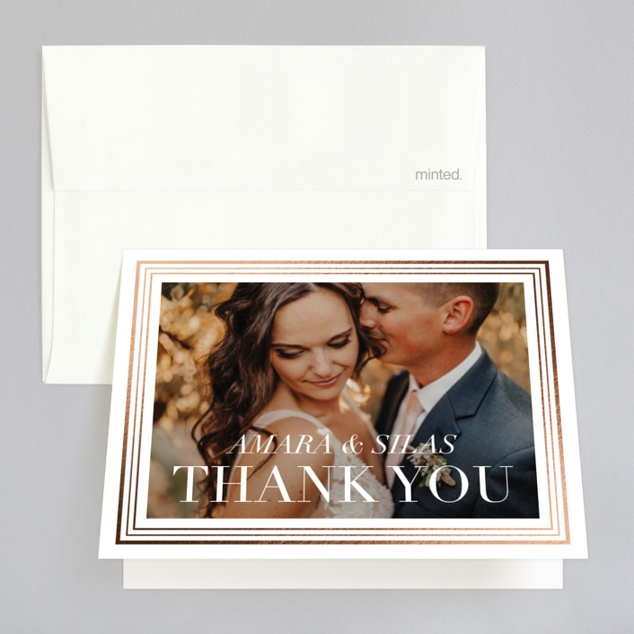 """""""Tailored Stripes"""" - Foil-pressed Folded Thank You Card in Cotton by Griffinbell Paper Co.."""