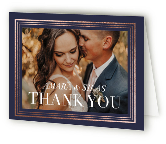 This is a landscape classic and formal, blue Wedding Thank You Cards by Griffinbell Paper Co. called Tailored Stripes with Foil Pressed printing on Standard Cover in minibook fold over (blank inside) format. Classic typography is framed with a graphic ...