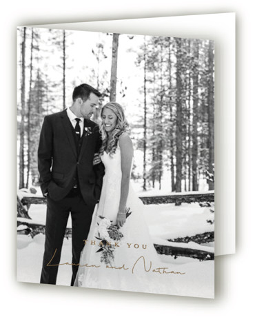 This is a portrait botanical, rustic, grey Wedding Thank You Cards by Susan Brown called Burnished with Foil Pressed printing on Standard Cover in minibook fold over (blank inside) format. Elegant walk in the forest.