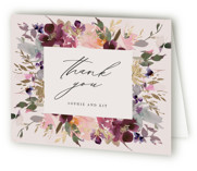This is a pink wedding thank you card by Lori Wemple called Fleur with foil-pressed printing on strathmore in standard.