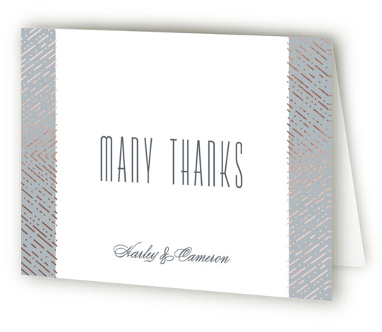 This is a grey, rosegold Wedding Thank You Cards by Hooray Creative called Ballroom Glitz with Foil Pressed printing on Standard Cover in minibook fold over (blank inside) format. Clean, vintage inspired typography with a intricate, glitzy border!