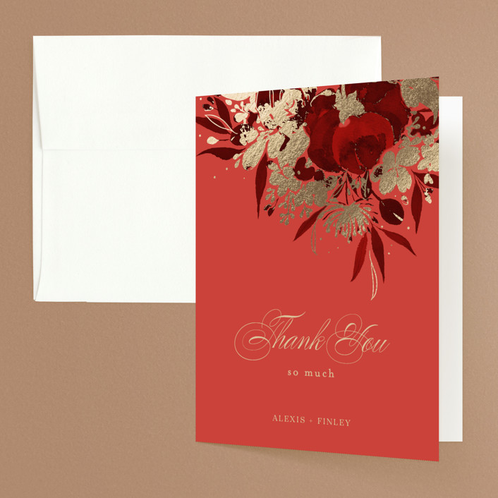 """""""Happiness"""" - Foil-pressed Folded Thank You Card in Cherry by Shannon Chen."""