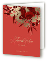 This is a red wedding thank you card by Shannon Chen called Happiness with foil-pressed printing on strathmore in standard.