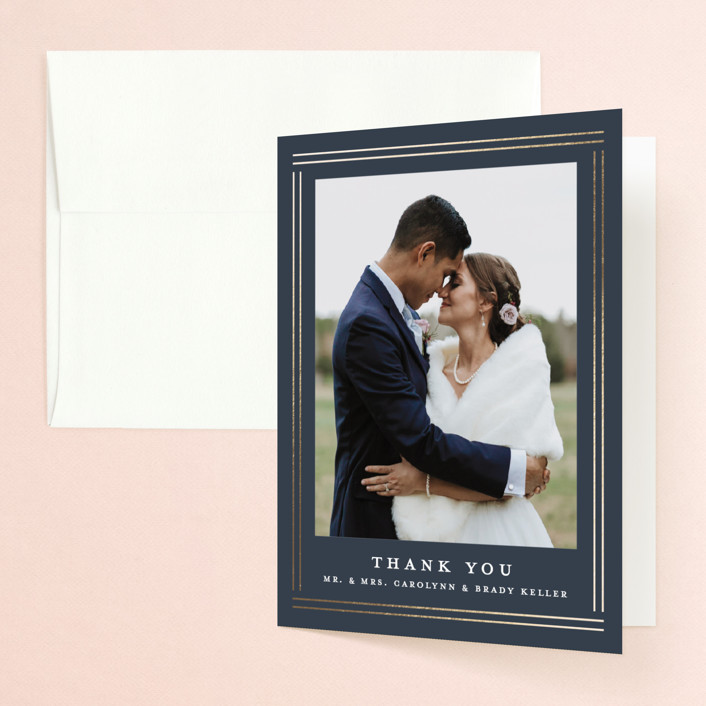 """""""The Biltmore"""" - Foil-pressed Folded Thank You Card in Navy by Stacey Meacham."""