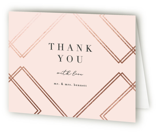 This is a landscape vintage, pink Wedding Thank You Cards by Erica Krystek called zigzag with Foil Pressed printing on Standard Cover in minibook fold over (blank inside) format. This chic design pairs foil pressed intersecting lines with a modern ...