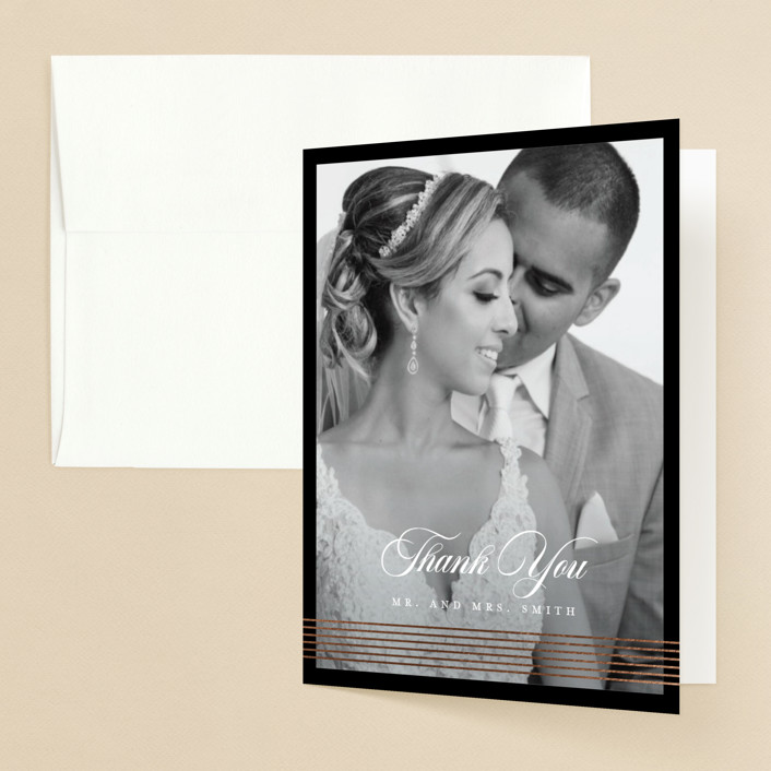 """""""Classic Stripes"""" - Foil-pressed Folded Thank You Card in Tuxedo by Christie Garcia."""