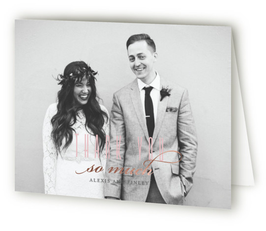 This is a pink, rosegold Wedding Thank You Cards by Four Wet Feet Studio called Glamorous Foliage with Foil Pressed printing on Standard Cover in minibook fold over (blank inside) format. A modern wedding invite features botanical watercolor illustrations and ...
