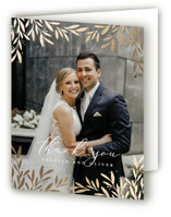 This is a white wedding thank you card by Laura Hankins called Vine + Pen with foil-pressed printing on strathmore in standard.