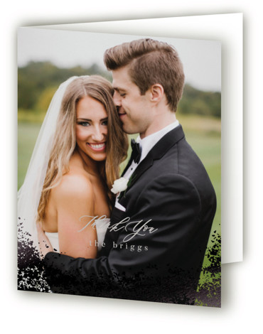 This is a landscape botanical, painterly, rustic, black, grey Wedding Thank You Cards by Everett Paper Goods called Tidal with Foil Pressed printing on Standard Cover in minibook fold over (blank inside) format. An organic, hand painted watercolor background inspired ...