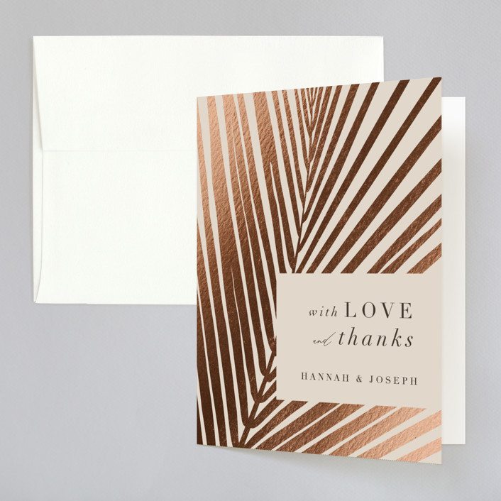 """""""Pristine"""" - Foil-pressed Folded Thank You Card in Sand by Robin Ott."""