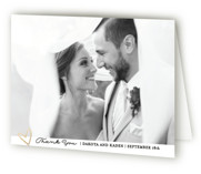 This is a gold wedding thank you card by Bethan called Elegance with foil-pressed printing on strathmore in standard.