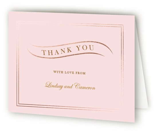 This is a landscape classic and formal, pink Wedding Thank You Cards by Elly called Eternal Love with Foil Pressed printing on Standard Cover in minibook fold over (blank inside) format. A vintage inspired design with gold elements for a ...