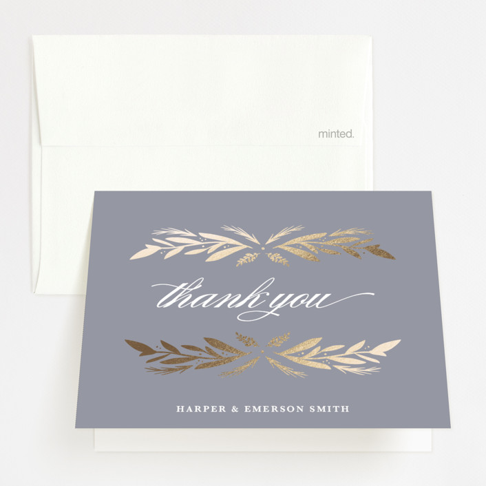"""""""Florabel"""" - Rustic Foil-pressed Thank You Cards in Lavender by Olivia Raufman."""