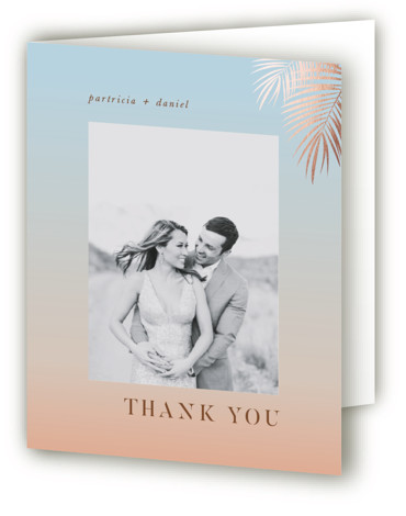 This is a portrait illustrative, blue, brown Wedding Thank You Cards by lulu and isabelle called Sunset by the Sea with Foil Pressed printing on Standard Cover in minibook fold over (blank inside) format. This foil pressed wedding invitation seeks ...