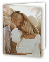 This is a beige wedding thank you card by Leah Bisch called Bloom with foil-pressed printing on strathmore in standard.