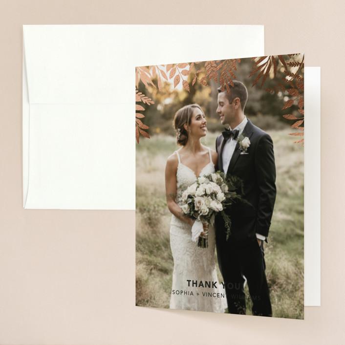 """Garden"" - Foil-pressed Folded Thank You Card in Midnight by Joyce Pinheiro."