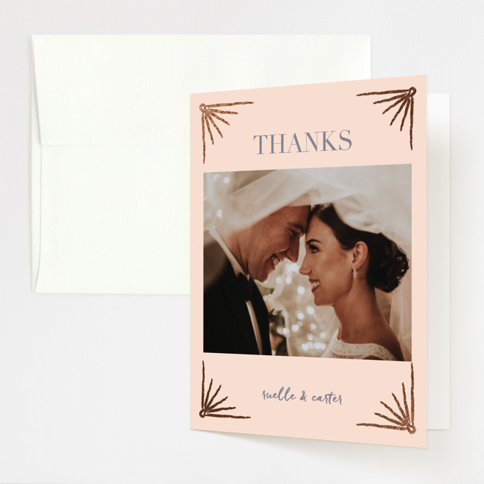 """""""Beaming"""" - Vintage Foil-pressed Folded Thank You Card in Duty Rose by Stacey Day."""