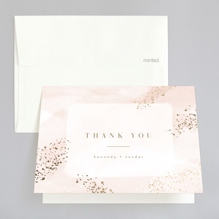 """Zara"" - Foil-pressed Thank You Cards in Blush by Kristie Kern."