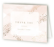 This is a pink wedding thank you card by Kristie Kern called Zara with foil-pressed printing on strathmore in standard.