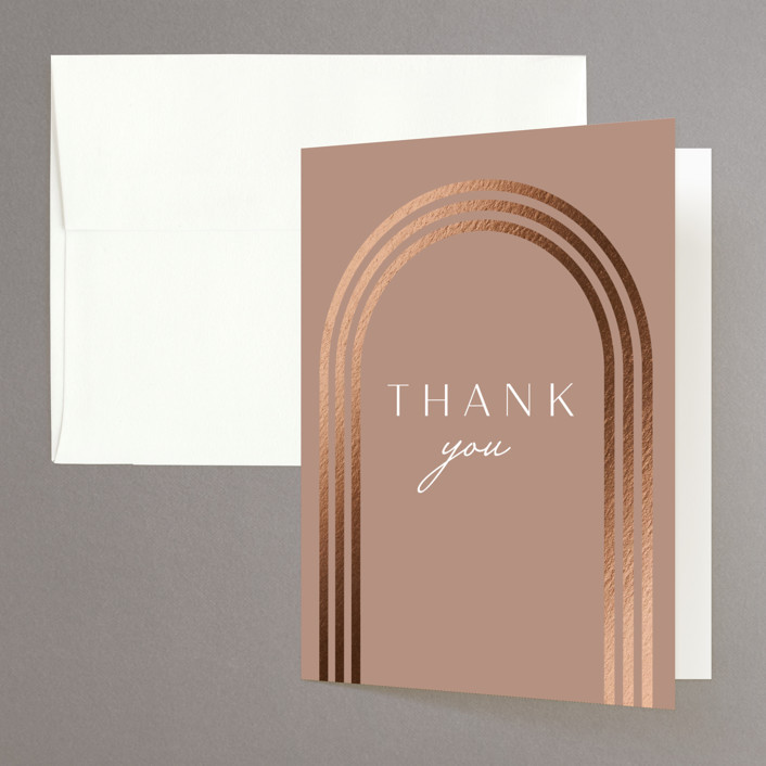 """""""Eternal Love"""" - Foil-pressed Folded Thank You Card in Rose Dust by Bliss Design Studio."""