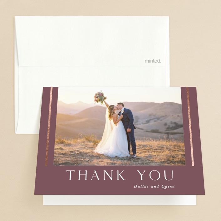 """The Minimalist"" - Foil-pressed Folded Thank You Card in Mauve by Jana Volfova."