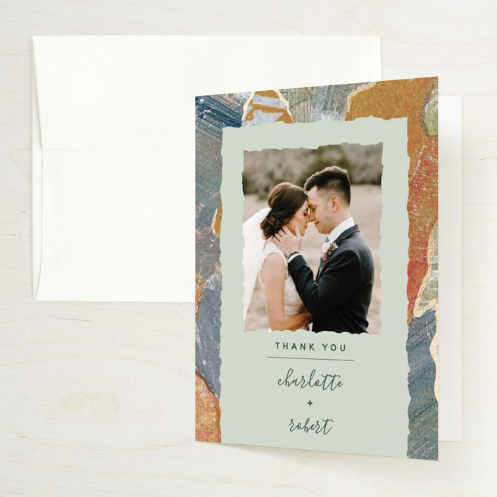 """Earth Song"" - Foil-pressed Folded Thank You Card in Sunset Stone by Starry Lane Studio."