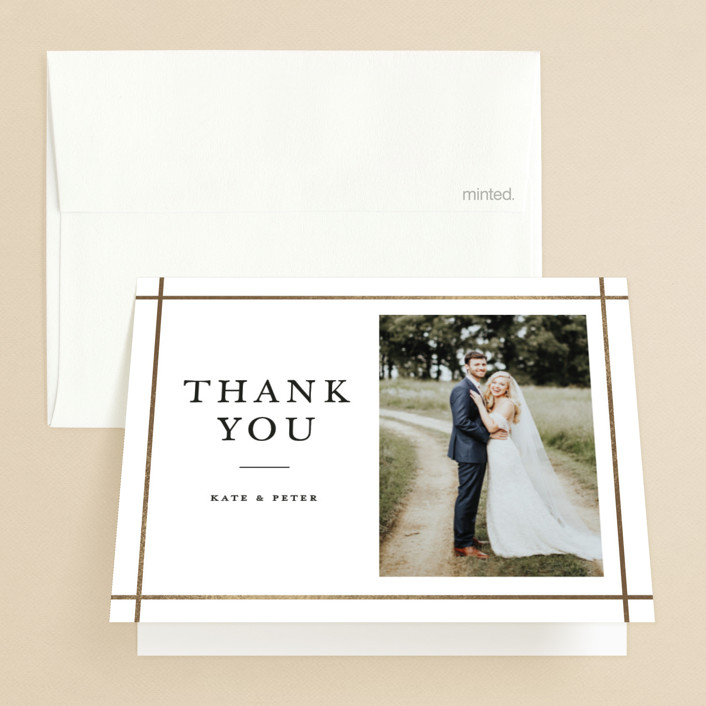 """""""Formal Affair"""" - Foil-pressed Folded Thank You Card in Cloud by Stacey Meacham."""
