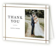 This is a white wedding thank you card by Stacey Meacham called Formal Affair with foil-pressed printing on strathmore in standard.