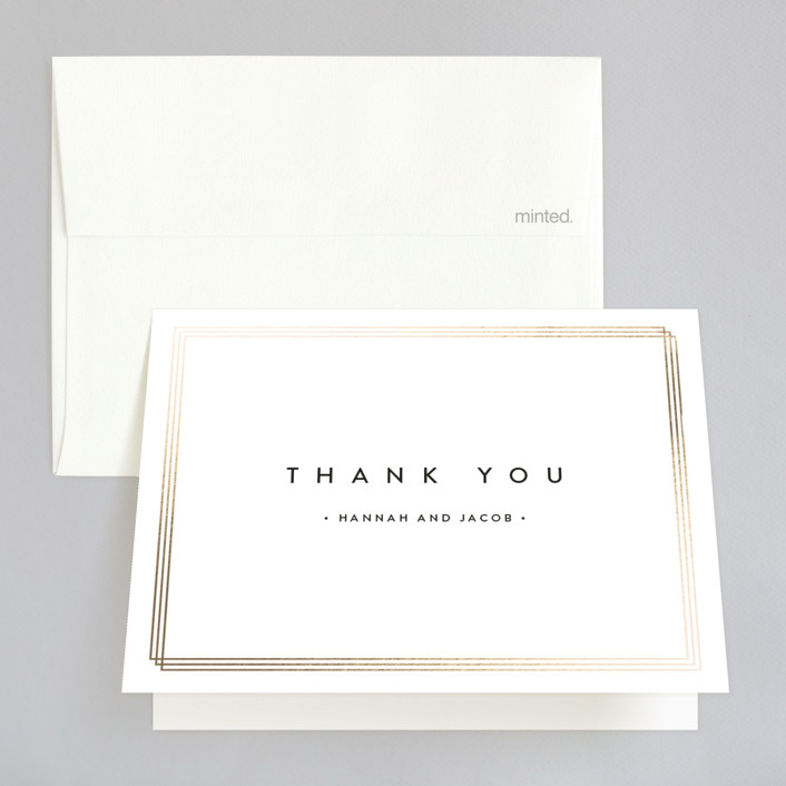 """Elegantly Framed"" - Foil-pressed Folded Thank You Card in Blanc by Stacey Meacham."