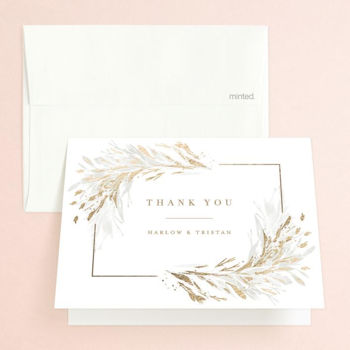 """""""Fields"""" - Bohemian Foil-pressed Folded Thank You Card in Leaf by Kristie Kern."""