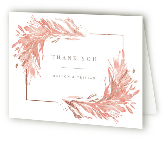 This is a landscape botanical, painterly, orange Wedding Thank You Cards by Kristie Kern called Fields with Foil Pressed printing on Standard Cover in minibook fold over (blank inside) format. Light watercolor foliage is accented by delicate gold foil in ...