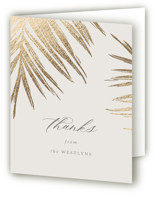 This is a beige wedding thank you card by Melinda Denison called Gilded Palm with foil-pressed printing on strathmore in standard.