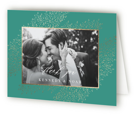 This is a bohemian, modern, gold, green Wedding Thank You Cards by Kristie Kern called Solaris with Foil Pressed printing on Standard Cover in minibook fold over (blank inside) format. Fresh and modern gold foil frame