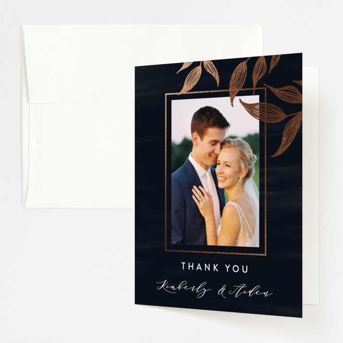 """Elegance"" - Rustic Foil-pressed Folded Thank You Card in Sapphire by Roopali."