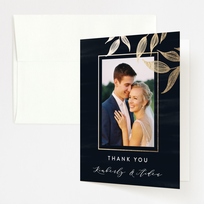 """""""Elegance"""" - Rustic Foil-pressed Folded Thank You Card in Sapphire by Roopali."""