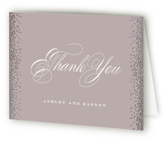 This is a landscape classic and formal, purple Wedding Thank You Cards by Jennifer Postorino called Glitz & Glam with Foil Pressed printing on Standard Cover in minibook fold over (blank inside) format. A classically elegant wedding invitation featuring a ...