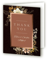 This is a black wedding thank you card by Wildfield Paper Co called Midnight Spring with foil-pressed printing on strathmore in standard.