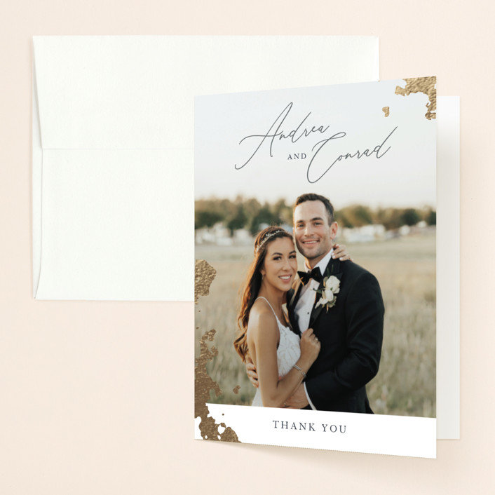"""""""far and away"""" - Foil-pressed Folded Thank You Card in Lily by Design Lotus."""