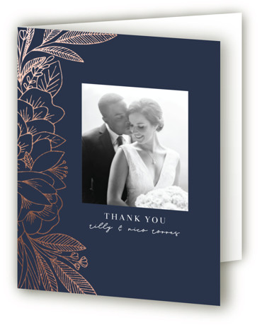 This is a blue Wedding Thank You Cards by Olivia Raufman called Refined Bouquet with Foil Pressed printing on Standard Cover in minibook fold over (blank inside) format. An elegant invitation featuring delicate hand drawn florals and clean, understated typography. ...