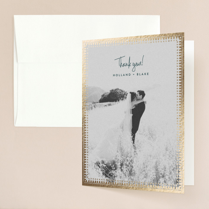"""""""trinkets"""" - Foil-pressed Thank You Cards in Gold by Carolyn Nicks."""