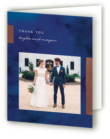 This is a blue Wedding Thank You Cards by Genna Cowsert called Gallant with Foil Pressed printing on Standard Cover in minibook fold over (blank inside) format. This chic wedding invitation features foil bars highlighting the typography.