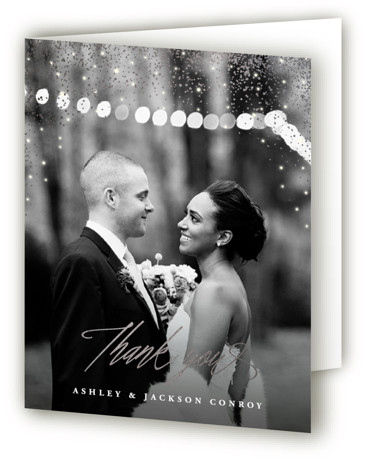 This is a blue Wedding Thank You Cards by Hooray Creative called Sparkling Night Sky with Foil Pressed printing on Standard Cover in minibook fold over (blank inside) format. A starry night sky sets the mood for an evening wedding. ...