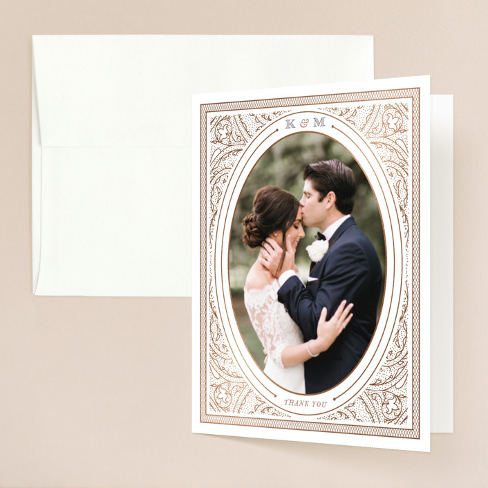 """Intricate"" - Vintage Foil-pressed Folded Thank You Card in Classic by Design Lotus."
