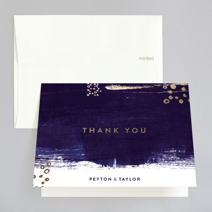 """Painted Canvas"" - Modern Foil-pressed Thank You Cards in Sapphire by Robin Ott."
