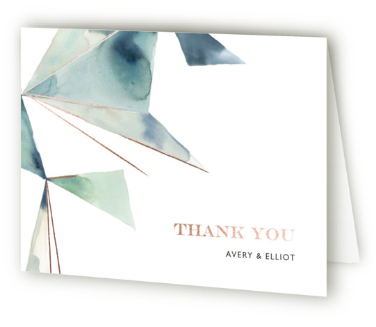 This is a landscape abstract, modern, simple, blue, green Wedding Thank You Cards by Kelly Ventura called Prism with Foil Pressed printing on Standard Cover in minibook fold over (blank inside) format. Muted watercolor washes and hints of metallic make ...