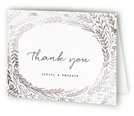 This is a landscape floral, hand drawn, metallic, rustic, silver Wedding Thank You Cards by Hooray Creative called Rustic Wreath with Foil Pressed printing on Standard Cover in minibook fold over (blank inside) format. A rustic wreath in an autumn ...
