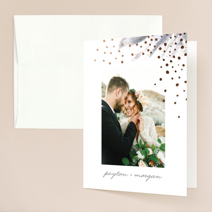 """""""Shimmering Statement"""" - Bohemian Foil-pressed Folded Thank You Card in Dove by Simona Camp."""