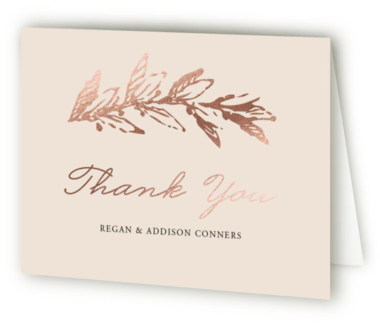 This is a landscape botanical, pink Wedding Thank You Cards by Oma N. Ramkhelawan called Winter's Garden with Foil Pressed printing on Standard Cover in minibook fold over (blank inside) format. A beautiful wedding invitation featuring a delicate wreath that ...